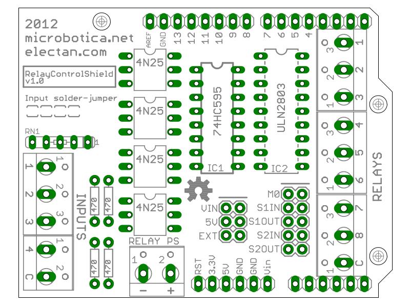 Relay Control Shield PCB