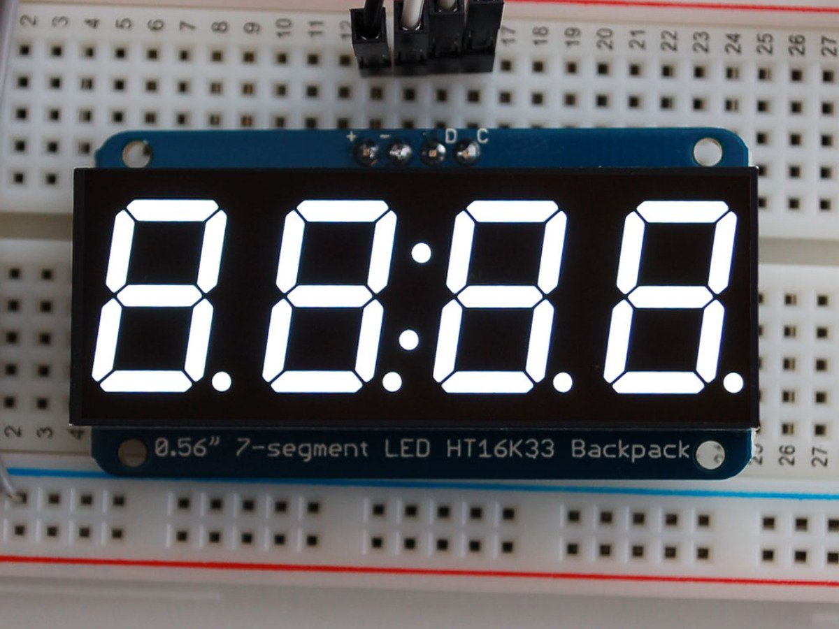 1002 Adafruit 056 4 Digit 7 Segment Display W I2c The 4digit 7segment Led Driver Circuit We Will Build Using A Backpack White Arduino Electronics And Robotics Electan Online Store