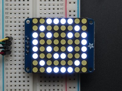 "Small 1.2"" 8x8 Ultra Bright White LED Matrix + Backpack"