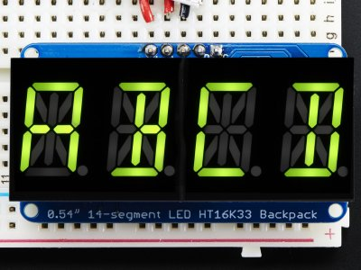 "Quad Alphanumeric Display -Yellow-Green 0.54"" Digits w/ Backpac"