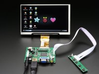 "HDMI 4 Pi: 7"" Display no Touchscreen 1024x600- HDMI/VGA/NTSC/PA"