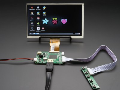 "HDMI 4 Pi: 7"" Display no Touchscreen 1024x600 w/ Mini Driver"