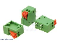 "Screwless Terminal Block: 2-Pin, 0.1"" Pitch, Side Entry (3-Pack)"