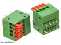 "Screwless Terminal Block: 4-Pin, 0.1"" Pitch, Side Entry (2-Pack)"
