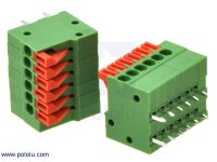 "Screwless Terminal Block: 6-Pin, 0.1"" Pitch, Side Entry (2-Pack)"