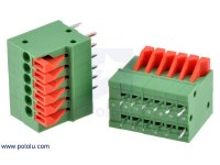 "Screwless Terminal Block: 6-Pin, 0.1"" Pitch, Top Entry (2-Pack)"