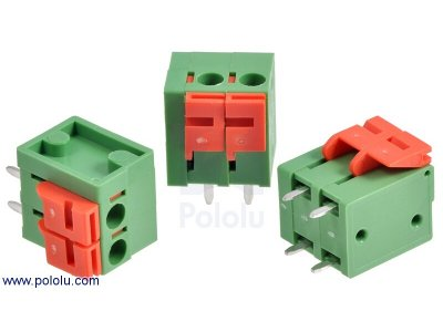 "Screwless Terminal Block: 2-Pin, 0.2"" Pitch, Top Entry (3-Pack)"