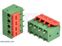 "Screwless Terminal Block: 4-Pin, 0.2"" Pitch, Top Entry (2-Pack)"